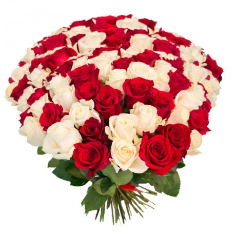 """Букет """"101 красная и белая роза"""""""