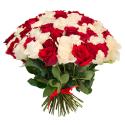 """Букет """"101 красная и белая роза"""" купить"""