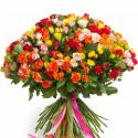 """Букет """"101 разноцветная кустовая роза"""" с доставкой"""