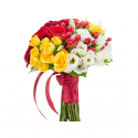 Букет невесты с лизиантусами и розами