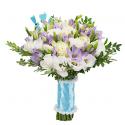 Букет невесты из фрезий, лизиантуса и роз