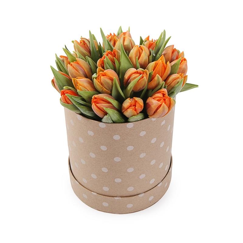 """Букет в шляпной коробке """" 31 тюльпан"""" с доставкой"""