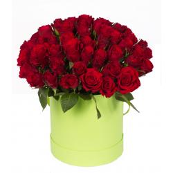 """Букет в шляпной коробке """"51 красная роза"""""""