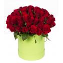 """Букет в шляпной коробке """"51 красная роза"""" купить"""