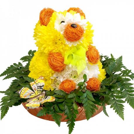 """Игрушка из цветов """"Медведь"""""""