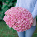 Букет из 101 розовой розы 40 см (Кения)